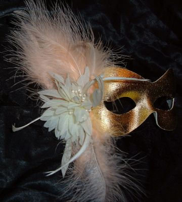 Gold & peach Burlesque style feather masquerade mask